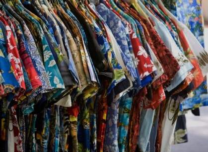 HONOLULU, HI - JULY 19: Hawaiian shirts on a rack in Waikiki's International Market Place on July 19th, 2008.