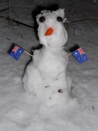 O - our teeny tiny snowman